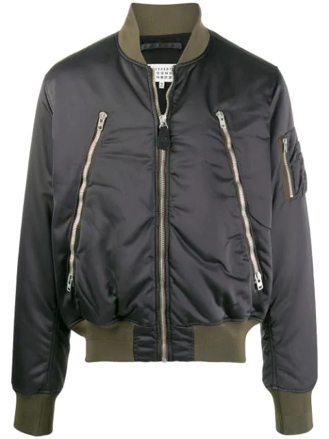 Maison Margiela Grey Zip-up Bomber Jacket In 855 Anthracite