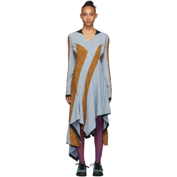 Kiko Kostadinov Blue And Tan Maya Dress