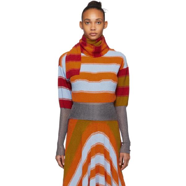 Kiko Kostadinov Multicolor Striped Pistolera Scarf Sweater In Bright Poly