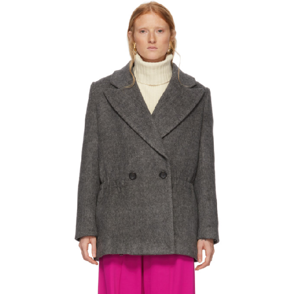 Tibi Grey Wool Plush Coat In Cement