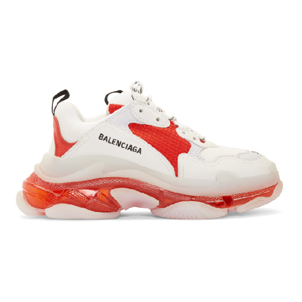 Balenciaga Red Women's Triple S Sneakers White, Red And Grey In White/red/grey