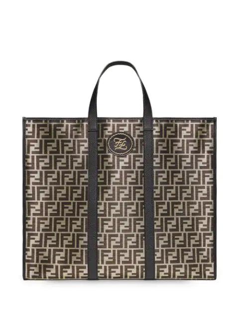 Fendi Ff Jacquard Glazed Fabric Tote In F18H9-Gold +Black +Vibrato