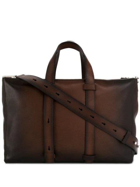 Orciani Micron Deep Gradient Leather Tote Bag In Brown