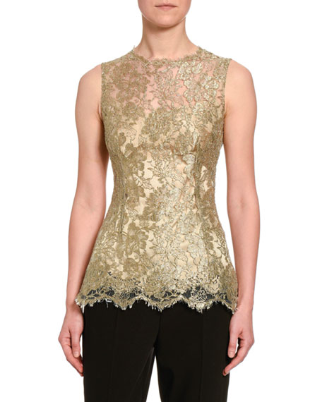 Dolce & Gabbana Sleeveless Metallic Chantilly Lace Blouse In Gold