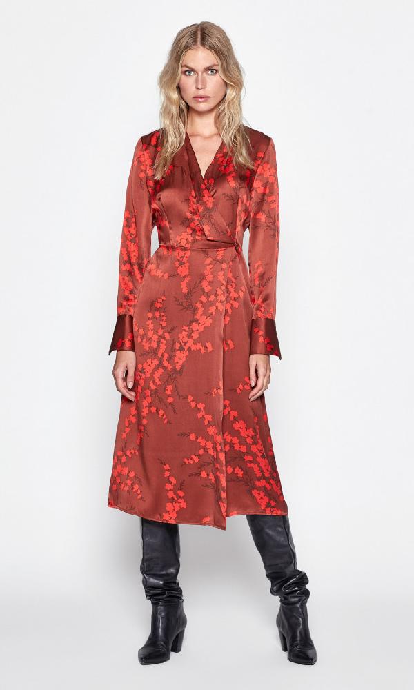 Equipment Willowe Floral Long-sleeve Silk Midi Wrap Dress In Smoked Paprika Multi