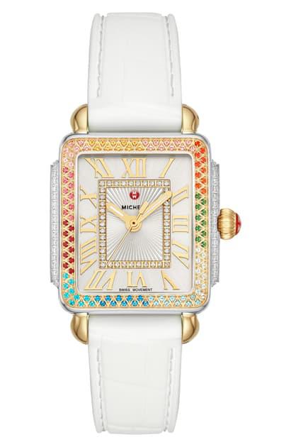 Michele Deco Madison Diamond Dial Watch Head, 29mm X 31mm In White/ Silver/ Multi