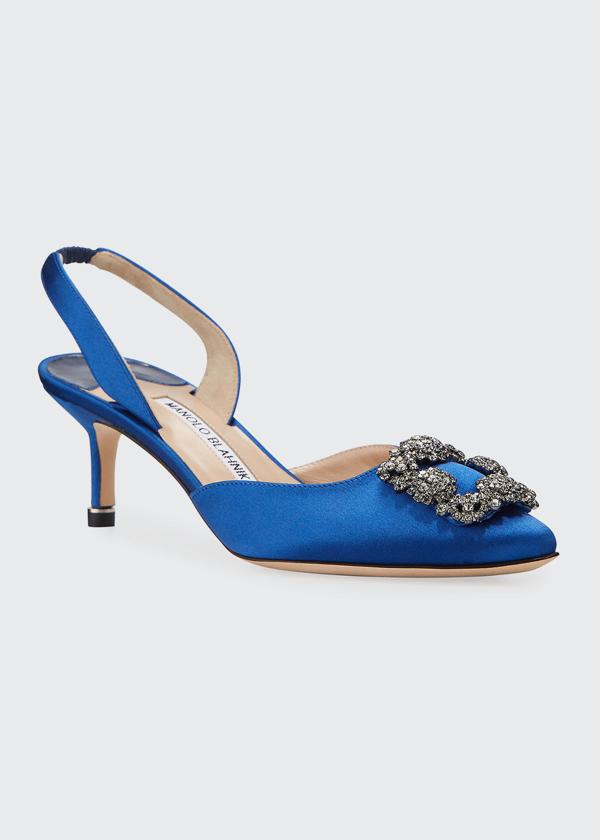 Manolo Blahnik Hangisi Kitten-heel Satin Slingback Pumps In Blue