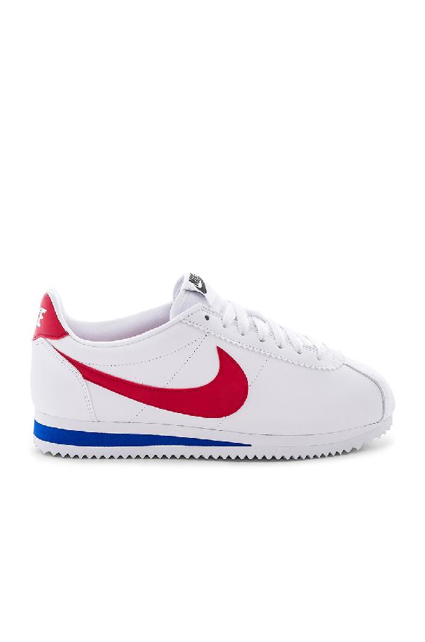 Nike 'Classic Cortez' Swoosh Logo Leather Sneakers In White, Varsity Red & Varsity Royal