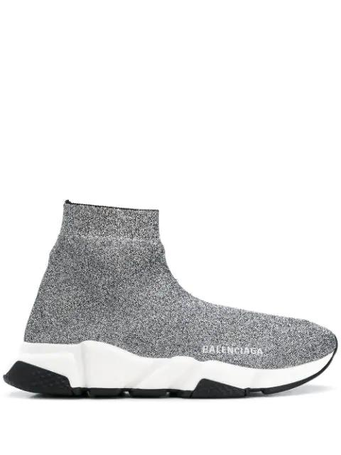 Balenciaga Speed Logo-Print Metallic Stretch-Knit High-Top Sneakers In 1064 Silver White  Black