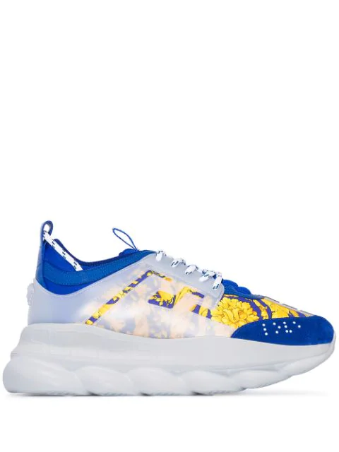 Versace Blue & Gold Heritage 'crete De Fleur' Chain Reaction Sneakers