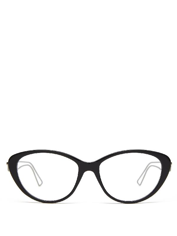 Balenciaga Metal-arms Cat-eye Acetate Glasses In Black