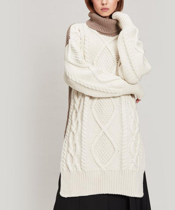 Joseph Oversized Roll-Neck Cable-Knit Wool-Blend Sweater In Cream