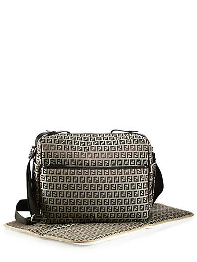 Fendi Logo Diaper Bag In Brown
