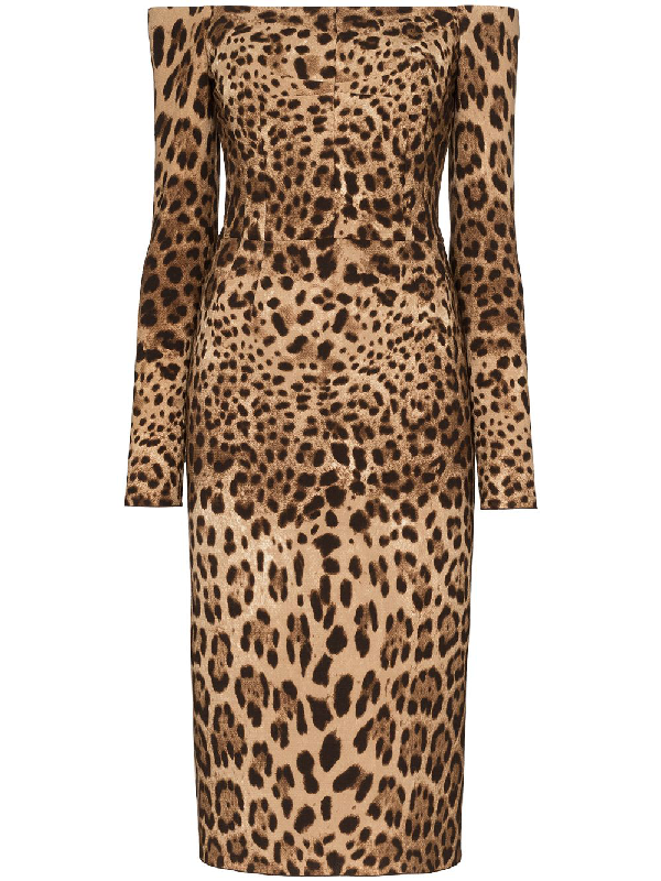 Dolce & Gabbana Off The Shoulder Leopard Print Long Sleeve Wool Dress In Brown