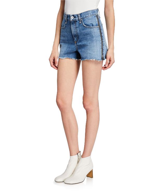 Rag & Bone Maya High Waist Cutoff Denim Shorts In Medland