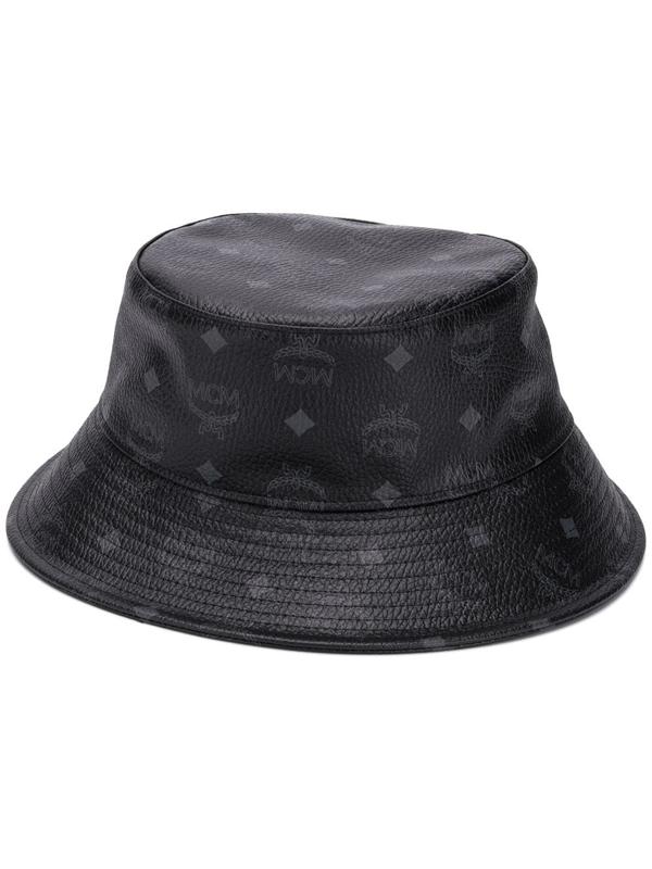 Mcm Visetos Faux Leather Bucket Hat In Black