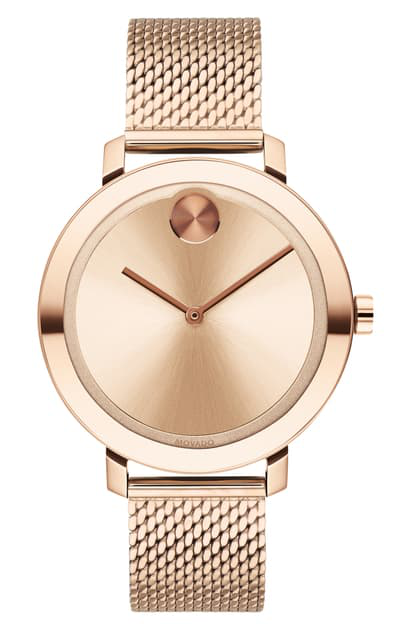 Movado Bold Mesh Strap Watch, 34mm In Rose Gold