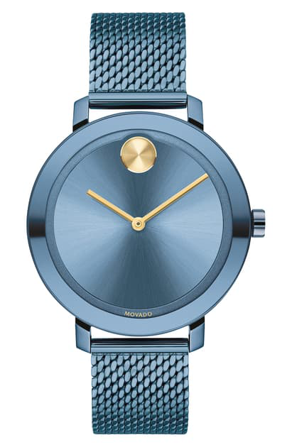 Movado Bold Evolution Mesh Strap Watch, 34mm In Blue
