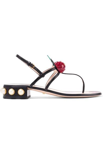 e169be771aca Gucci Hatsumomo Cherry-Embellished Leather Sandals In Black