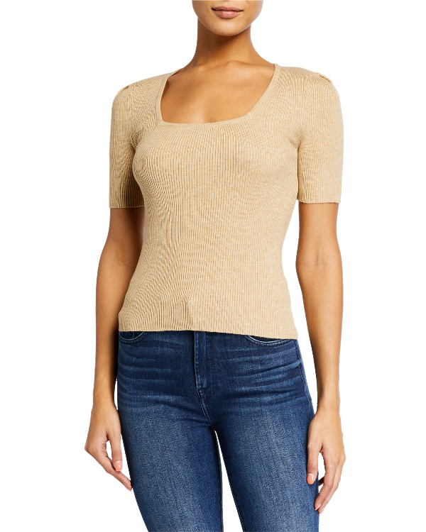 English Factory Puff Shoulder Knit Top In Tan