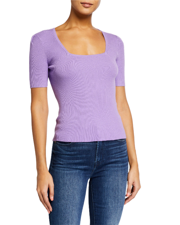 English Factory Puff Shoulder Knit Top In Lavender