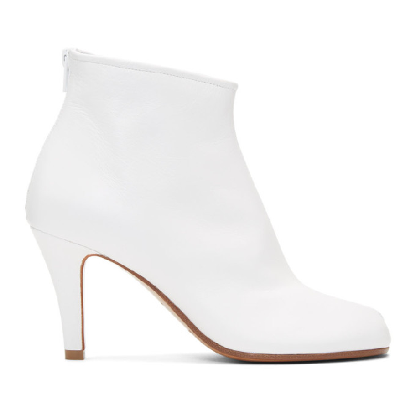 Maison Margiela Tabi High Heels Ankle Boots In White Leather In T1003 White
