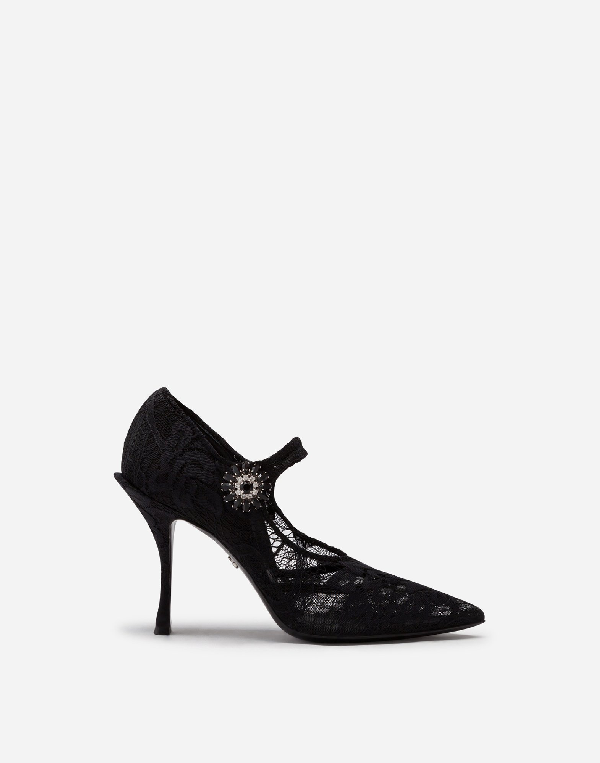 Dolce & Gabbana Pointy-toe Lace Mary Jane Pumps In Black