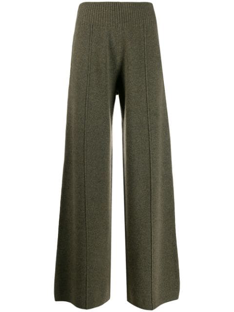 Pringle Of Scotland Knitted Wide Leg Trousers In Green