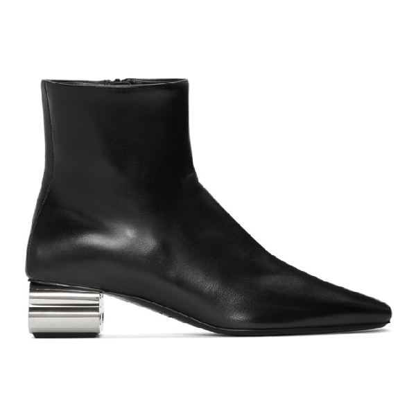 Balenciaga Typo Chrome-Heel Leather Ankle Boots In 1081 Black