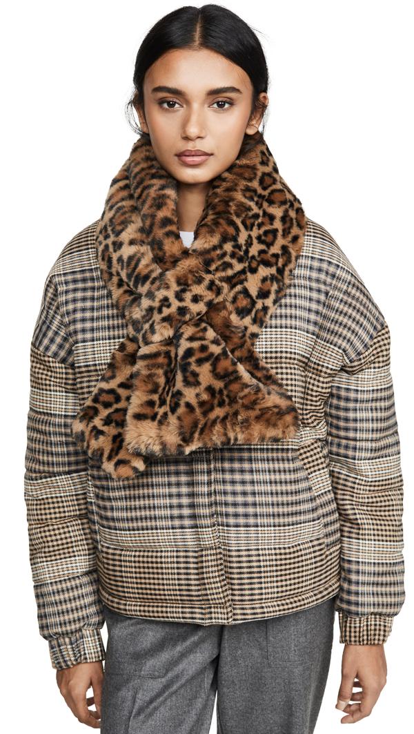 Apparis Jasper Faux Fur Animal Print Scarf In Plush Leopard