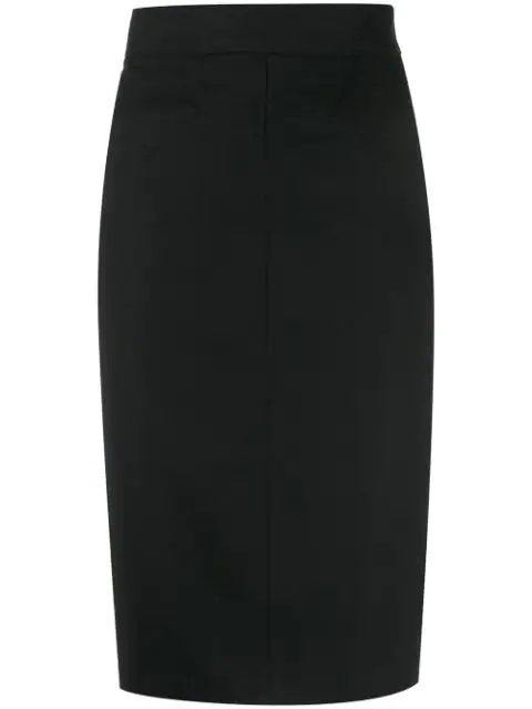 Alaïa 1980s High Rise Fitted Skirt In Black