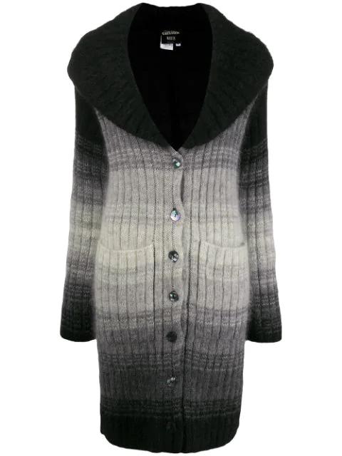 Jean Paul Gaultier 2000s Degradé Knitted Cardigan In Black