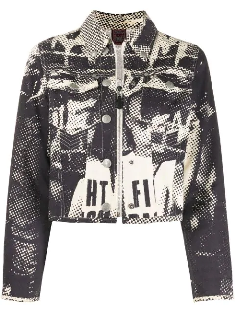 Jean Paul Gaultier 1997 Face Print Denim Jacket In Neutrals