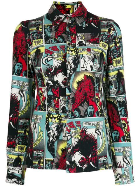 Jean Paul Gaultier 1995 Cartoon Print Shirt In Black