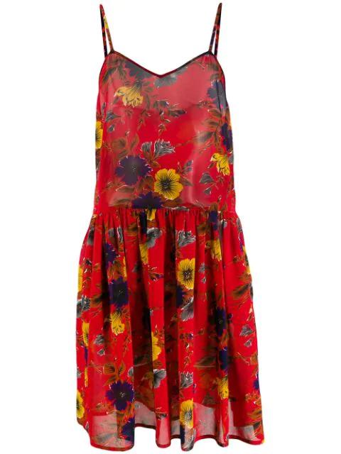 Jean Paul Gaultier 1991 Floral Slip Dress In Red