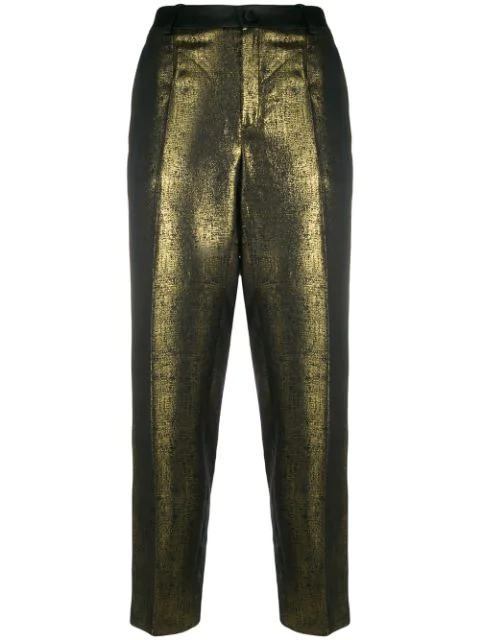 Lanvin Metallic Straight-leg Trousers In Gold