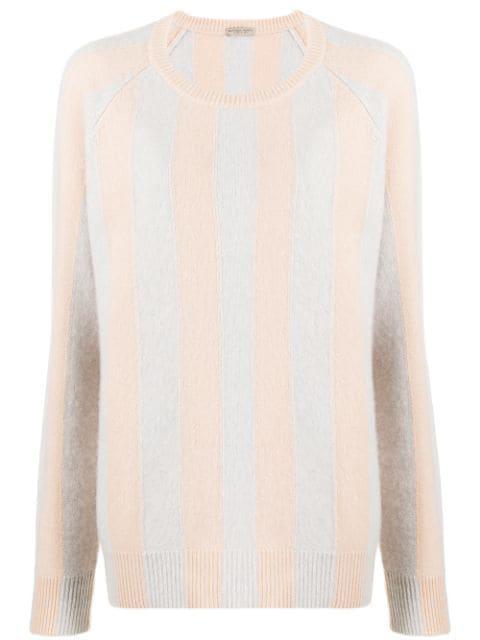 Bottega Veneta Cashmere Striped Jumper In Grey