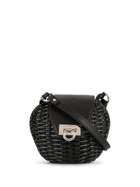 Salvatore Ferragamo Mini Gancini Cross Body Bag In Black