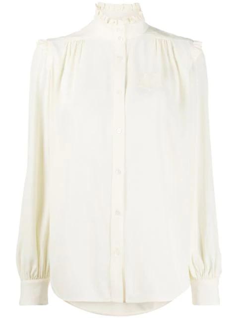 N°21 Ruffle Neck Shirt In Neutrals
