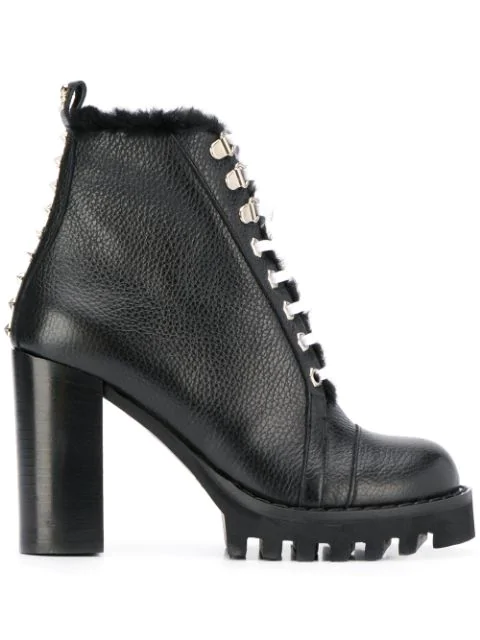 Philipp Plein Star Studded Ankle Boots In Black