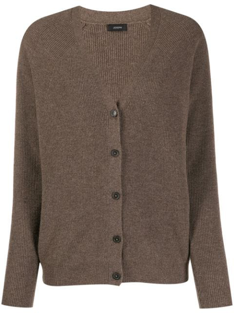Joseph Cashmere Ribbed Knit Cardigan In Brown