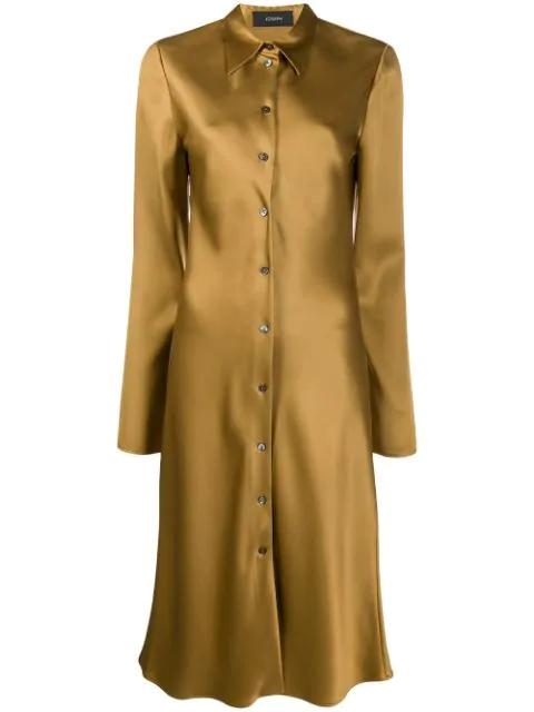 Joseph Midi Silk Shirt Dress In 1216 Hazel