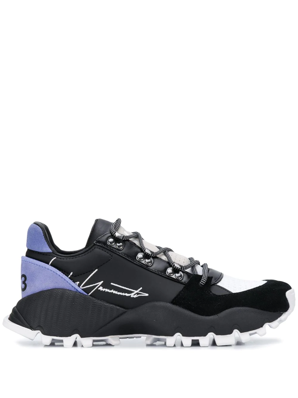 Y-3 Signature-logo Low-top Trainers In Black