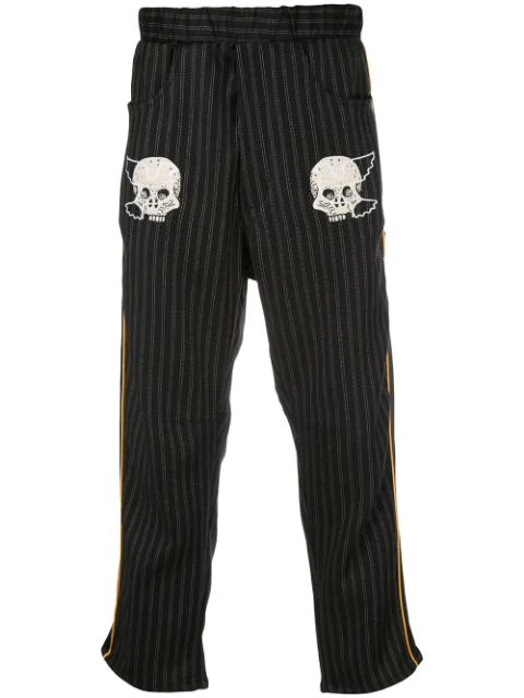 Lost Daze Embroidered Skull Trousers In Black