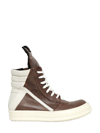 Rick Owens 20Mm Leather High Top Sneakers, Taupe/White In Black/White