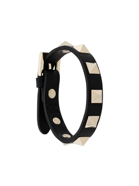 Valentino Garavani Garavani Rockstud Leather Bracelet In Black