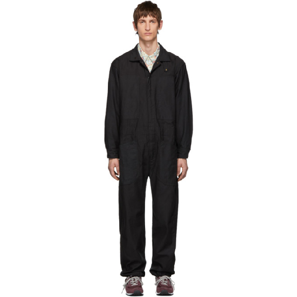 Engineered Garments Black Canvas Coverall Suit In Dt003 Black