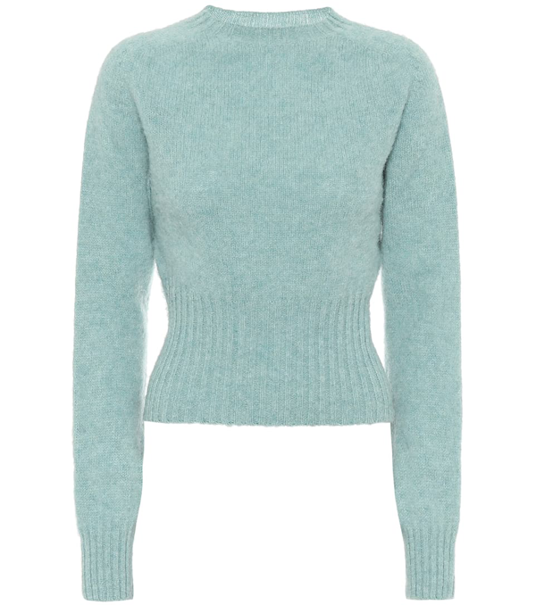 Victoria Beckham Brushed Mélange Wool Sweater In Green