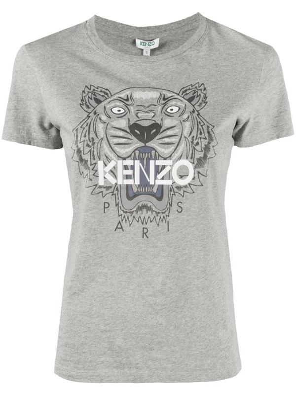 Kenzo Tiger-print Cotton T-shirt In Grey