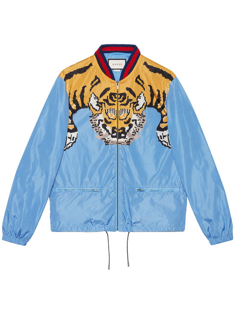 01e99146c Tiger-Print Shell Bomber Jacket in Blue